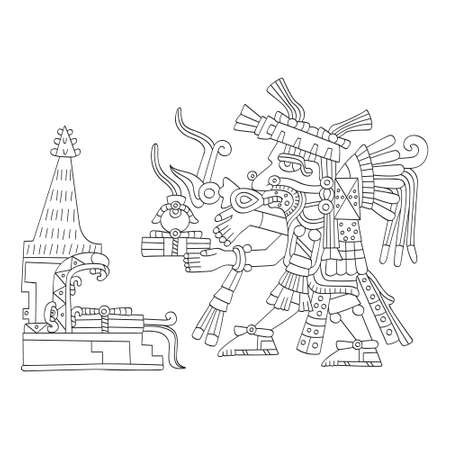 vector image with Aztec god Tepeyollotl.God of the earthquakes and jaguars for your project Illusztráció