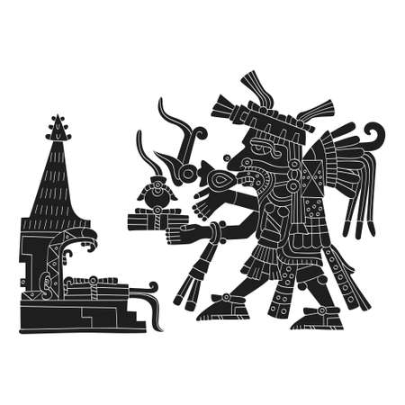 vector image with Aztec god Tepeyollotl.God of the earthquakes and jaguars for your project Ilustração