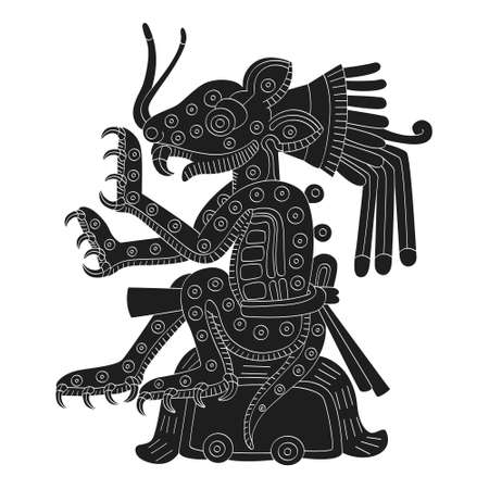 vector image with Aztec god Tepeyollotl.God of the earthquakes and jaguars for your project
