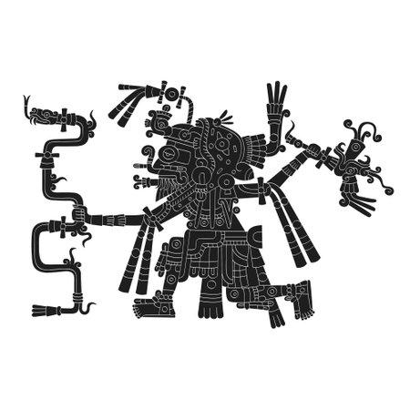 vector image with Aztec god Tlaloc.God of the rain and water Illusztráció