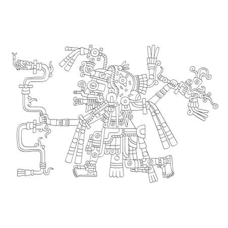 vector image with Aztec god Tlaloc.God of the rain and water Ilustração