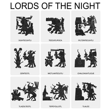 vector set with Aztec deities Lords of the Night for your project