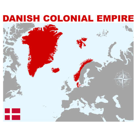 vector map of the Danish colonial empire for your project Illusztráció