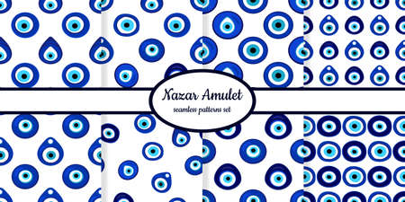 Collection of seamless patterns with Nazar amulet symbols designed for web, fabric, paper and all prints Illusztráció