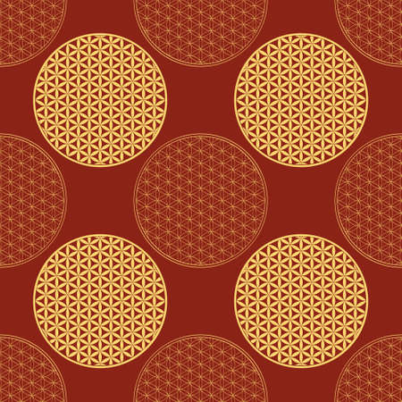 Seamless pattern with ancient symbol flower of life for your project
