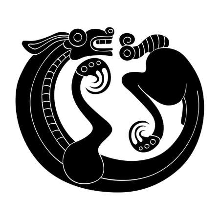 vector monochrome icon with ancient Scythian art. Symbol with animal motifs for your project