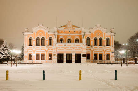 Pryluky, Chernihiv, Ukraine - 02/15/2021: Brodsky Theater in Pryluky at night. Architecture of the early 20th century Editorial