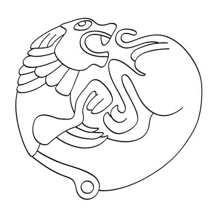 vector monochrome icon with ancient Scythian art. Symbol with animal motifs for your project Ilustración de vector