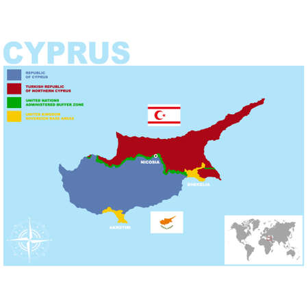 vector map of the Republic of Cyprus for your project Ilustração