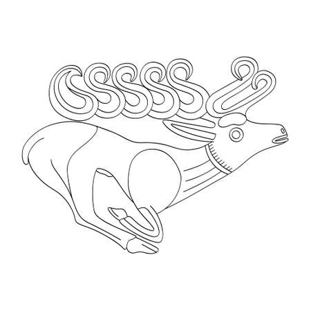 vector monochrome icon with ancient Scythian art. Plaque with animal motifs for your project