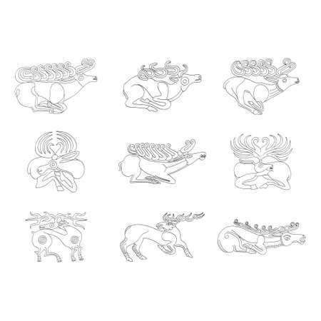 vector monochrome icon set with ancient Scythian art. Plaques with animal motifs for your project Ilustração