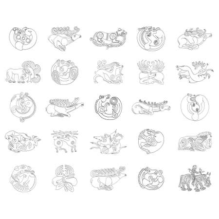 vector monochrome icon set with ancient Scythian art. Plaques with animal motifs for your project Illusztráció