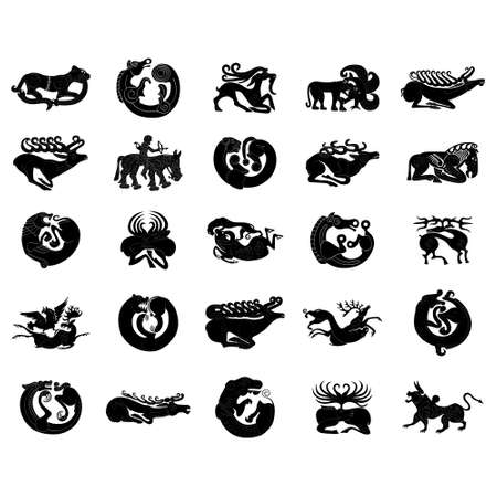 vector monochrome icon set with ancient Scythian art. Plaques with animal motifs for your project Ilustración de vector