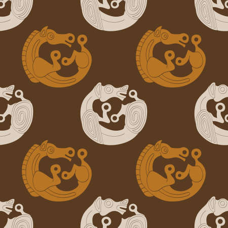 Seamless pattern with ancient Scythian art and animal motifs for your project Ilustración de vector