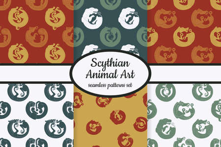 Collection of seamless patterns with ancient Scythian art and animal motifs designed for web, fabric, paper and all prints Illustration