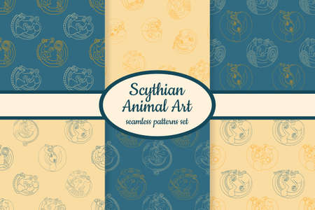 Collection of seamless patterns with ancient Scythian art and animal motifs designed for web, fabric, paper and all prints Illusztráció