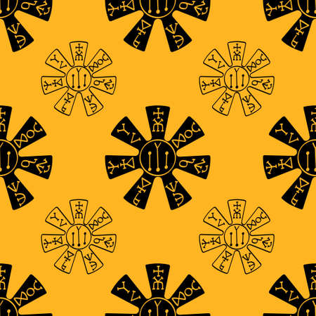 Seamless pattern with the Pliska Rosette medieval Bulgarian symbol for your project