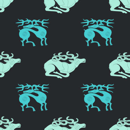 Seamless pattern with ancient Scythian art and animal motifs for your project Illusztráció