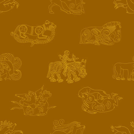 Seamless pattern with ancient Scythian art and animal motifs for your project