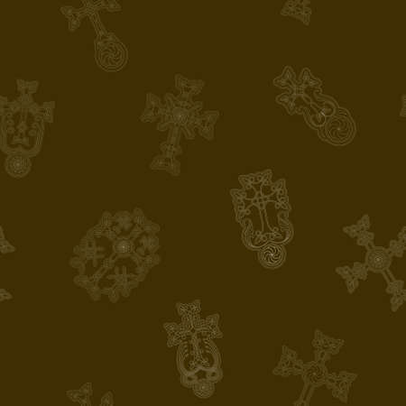 Seamless pattern with ancient Armenian symbol Khachkar. Armenian cross stone for your project