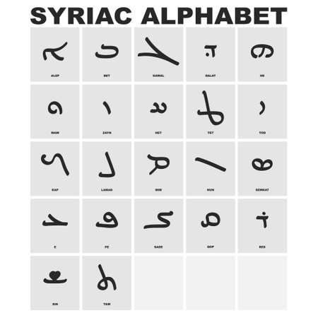 vector icon set with Syriac alphabet for your project