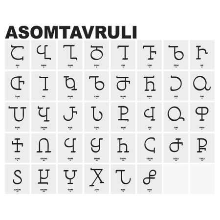 vector icon set with Georgian script Asomtavruli for your project
