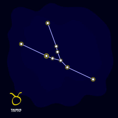 vector image with Taurus zodiac sign and constellation of Taurus for your project