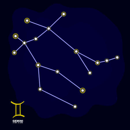 vector image with Gemini zodiac sign and constellation of Gemini for your project Illustration
