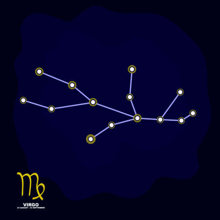 vector image with Virgo zodiac sign and constellation of Virgo for your project Illustration