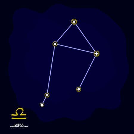 vector image with Libra zodiac sign and constellation of Libra for your project