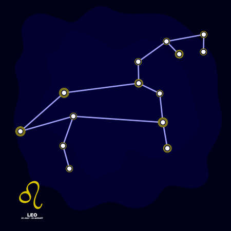 vector image with Leo zodiac sign and constellation of Leo for your project Illustration