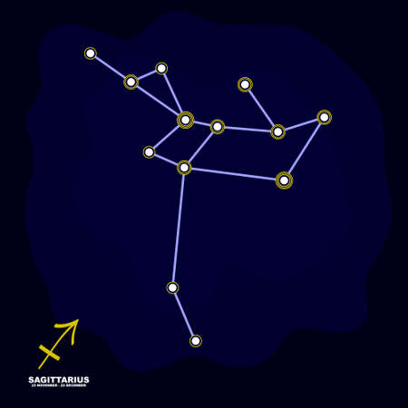 vector image with Sagittarius zodiac sign and constellation of Sagittarius for your project Illustration