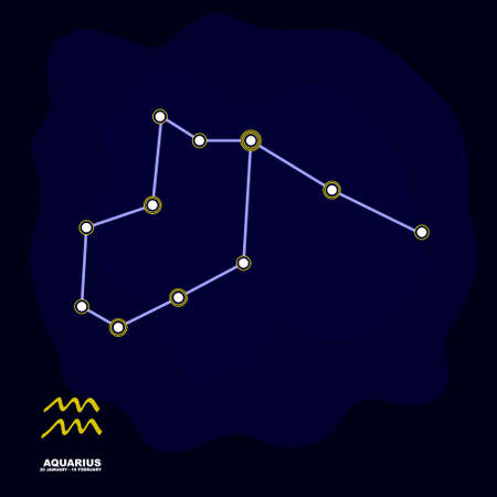 vector image with Aquarius zodiac sign and constellation of Aquarius for your project Illustration