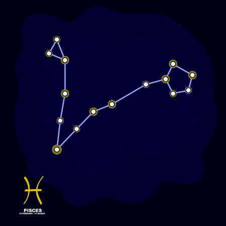 vector image with Pisces zodiac sign and constellation of Pisces for your project Illustration