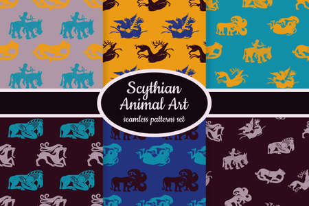 Collection of seamless patterns with ancient Scythian art and animal motifs designed for web, fabric, paper and all prints