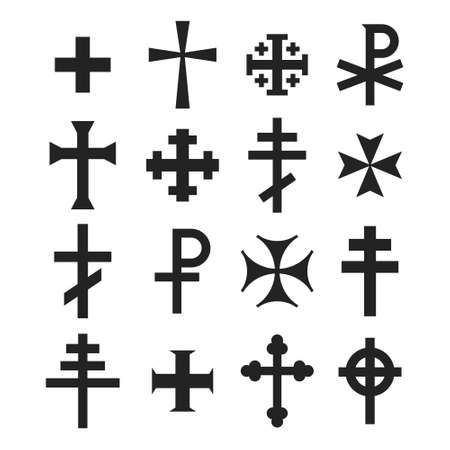 vector icon set with variants of Christian cross for your project