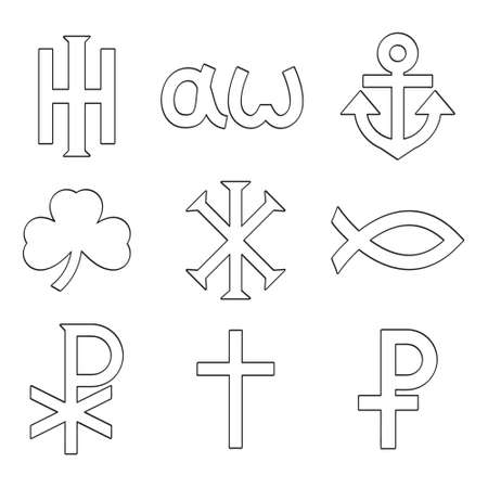 vector icon set with variants of Christian symbols for your project