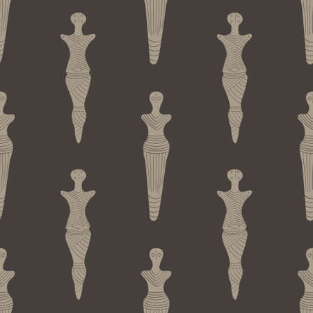 Seamless pattern with ancient ritual anthropomorphic symbol from Cucuteni – Trypillia culture for your project Illustration