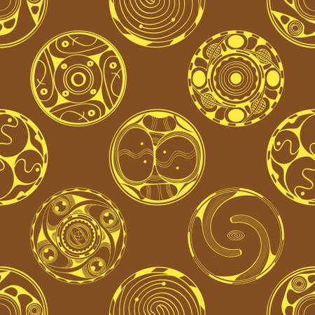 Seamless pattern with symbols ornament of Cucuteni Trypillia culture for your project