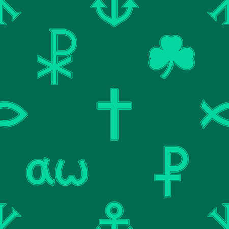 Seamless pattern with variants of Christian symbols for your project