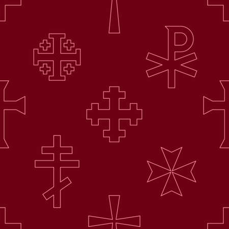 Seamless pattern with variants of Christian cross for your project