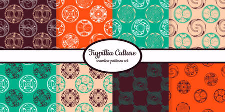 Collection of seamless patterns with ancient symbols from Cucuteni Trypillia designed for web, fabric, paper and all prints Illustration