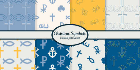 Collection of seamless patterns with variants of Christian symbols designed for web, fabric, paper and all prints