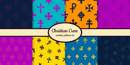 Collection of seamless patterns with Christian cross designed for web, fabric, paper and all prints