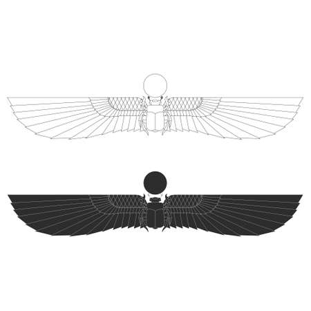 vector monochrome icon set with ancient egyptian symbol Scarab Winged sun for your project Illustration