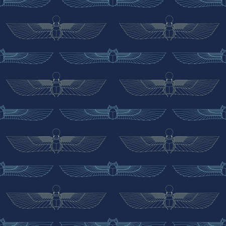 Seamless pattern with ancient egyptian symbol Scarab Winged sun for your project