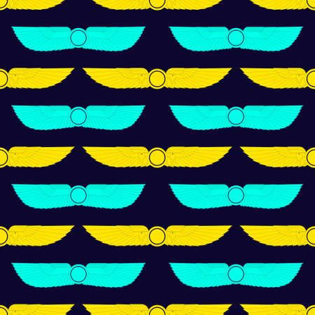 Seamless pattern with ancient egyptian symbol Winged sun for your project