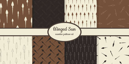 Collection of seamless patterns with ancient Arrowheads sun designed for web, fabric, paper and all prints