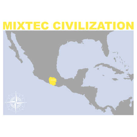vector map with historic area of Mixtec civilization for your project