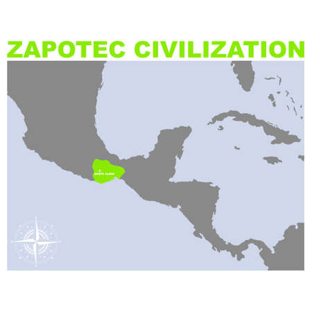 vector map with historic area of Zapotec civilization for your project Illusztráció